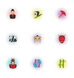 Attractions of Japan icons set pop-art style vector