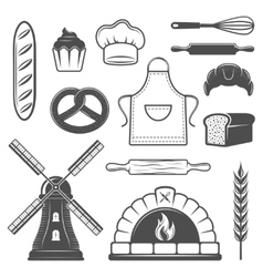 Bakery Monochrome Elements Set vector image