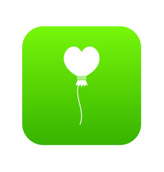 balloon in the shape of heart icon digital green vector image