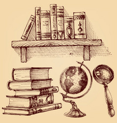 books and education set a wooden shelf books vector image