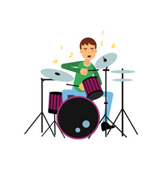 Boy playing drums creative hobby or profession vector
