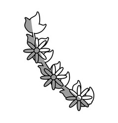 Branch flower decoration celebration outline vector