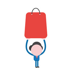 Businessman character holding up shopping bag vector