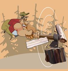 Cartoon cheerful man chopping wood with an ax vector