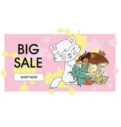 cat big sale banner business summer color vector image