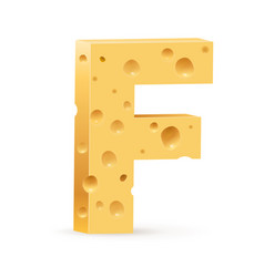 Cheese font f letter on white vector