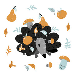 childish hedgehog carrying apple and mushroom on vector image