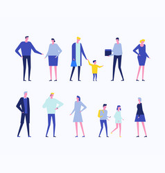 Children and adults - flat design style set vector