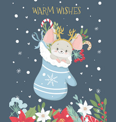 christmas and new year greeting card with cute vector image