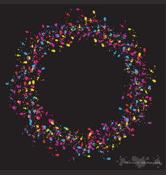 circle with colorful spots and sprays on a black vector image