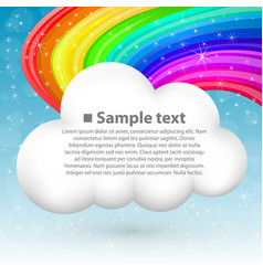 cloud with rainbow vector image