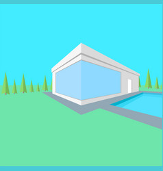 country modern one-storey house 3d isometric vector image