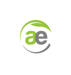 creative letter ae with circle green leaf logo vector image