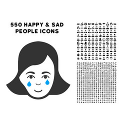 Crying woman face icon with bonus vector