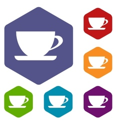 Cup rhombus icons vector