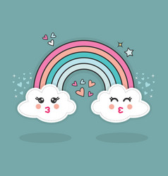 Cute abstract happy kissing emoji clouds in blue vector
