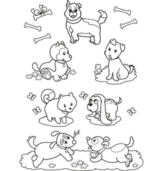 Cute cartoon dogs coloring page vector image