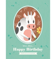 Cute cow animal cartoon birthday card design vector
