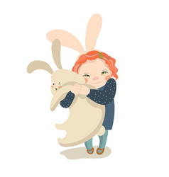 cute girl with bunny flat vector image