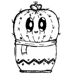 Cute shy cactus cartoon easy doodle image vector
