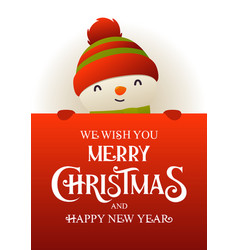 cute snowman stands behind red signboard vector image
