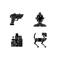 Cyberpunk items black glyph icons set on white vector