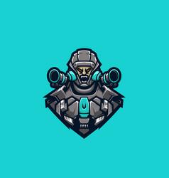 Cyborg fighter premium logo vector