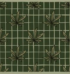 dark marijuana seamless botanic pattern sheet vector image