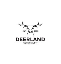 Deer head mono line logo design vector