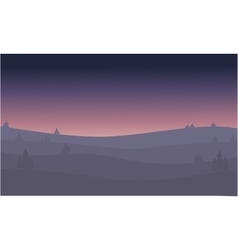 Desert at night of silhouette vector