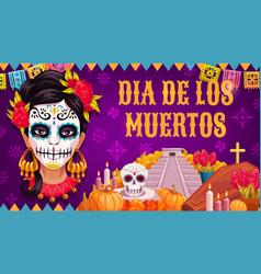 Dia de los muertos mexican religious day dead vector