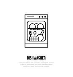 dishwasher flat line icon household appliances vector image
