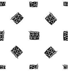Drum and drumsticks pattern seamless black vector
