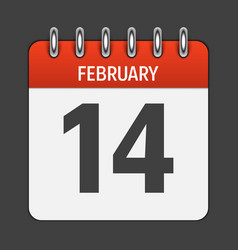 February 14 calendar daily icon vector