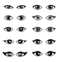 Female eye model set on white background vector