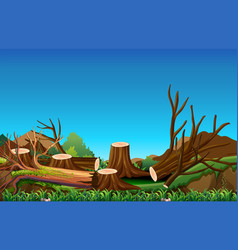 Field scene with chopped woods vector