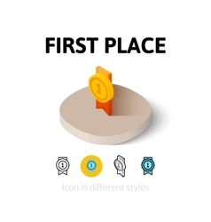 First place icon in different style vector image