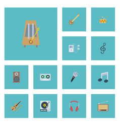 flat icons tape turntable mp3 player and other vector image