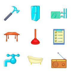 Foreman icons set cartoon style vector