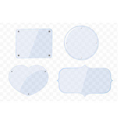 glass plates different shapes on a transparent vector image