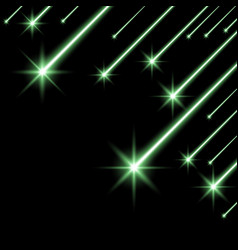 Glowing falling stars green color vector