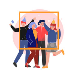 Group friends holding portrait frame young vector