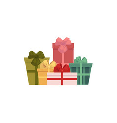 Group pile of gift present boxes christmas icon vector