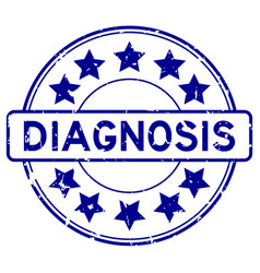 Grunge blue diagnosis word with star icon round vector