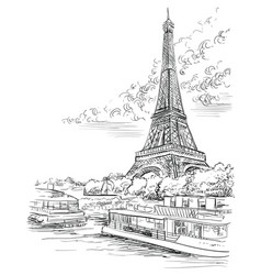 Hand drawing paris 3 vector