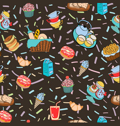 hand-drawn cartoon background with food and vector image
