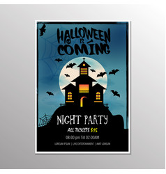 happy halloween night party poster vector image