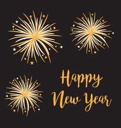 happy new year fireworks star sparkle set vector image