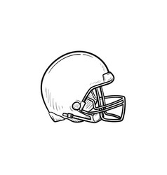 hockey helmet hand drawn outline doodle icon vector image