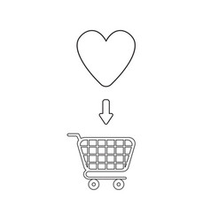 icon concept heart inside shopping cart vector image